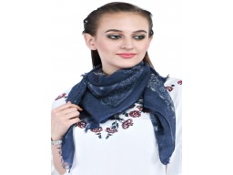 Indian Navy Blue Pure Woolen Stoles Beautiful Stunning Winter Soft And Stylish Handmade Woman Head Stoles For Ladies Christmas Birthday Bridesmaid Evening Wrap