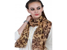 Yellow Outstanding Handmade Pure Wool Scarfs Decorated Flower Printed Stole Online Beautiful Stunning Winter Party Wear Scarves For Ladies Muffler Evening Shawl Wrap