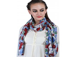 Indian Blue Red Bridesmaid Evening Wrap Decorative Floral Printed Pure Wool Winter Long Scarves Christmas Birthday Stunning Beautiful Accessories Gifting Purpose For Ladies Mufflers
