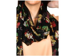 Black women fashion accessory christmas tree printed scarf  by 1 pieces indian online polyester gift mom girlfriend birthday bohemian long scarf evening stole wrap embroidery stoles for gifting purpose