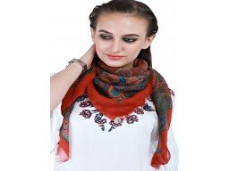 Beautiful orange pure wool autumn square scarf by 1 pieces women indian bridesmaid evening wrap party wear win..