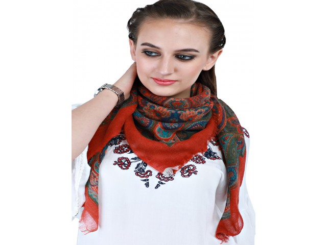 Red Pure Wool Autumn Square Scarf Women Indian Winter Scarves Gift for Mom Girlfriend Christmas Birthday Bridesmaid Evening Wrap Party Stole