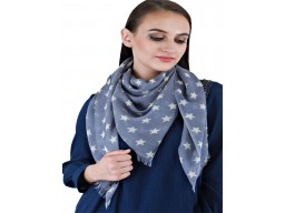 Decorated navy blue star print square pure wool indian online beautiful winter scarves by 1 pieces long party wear scarf bridesmaid evening wrap stoles gifting purpose for ladies stoles