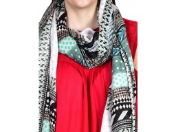 Indian polyester black mint color women printed crafting accessory scarves  by 1 pieces christmas birthday bohemian long scarf evening stole online soft and stylish latest designer beautiful stunning scarfs for ladies gift