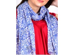 blue and white color women printed long scarf online beautiful decorative floral printed accessory scarves indian polyester gift mom girlfriend christmas birthday bohemian evening stole wrap