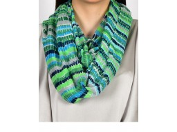 Green and blue color print infinity scarf by 1 piece cowl neck wrap indian polyester women circle sprint and summer bridesmaids christmas birthday autumn loop scarf head wrap online beautiful stunning party wear stoles