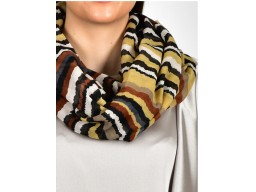 Brown and grey color print infinity scarf by 1 pieces cowl neck wrap indian polyester handmade women fancy circle scarfs girlfriend christmas birthday autumn loop scarf head wrap embellished online beautiful latest design stoles