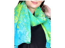 Green and blue color women scarf by 1 pieces decorative printed girls collage wear fashion accessory scarves indian summer polyester autumn girlfriend christmas bohemian long scarf evening wrap unique gift for ladies
