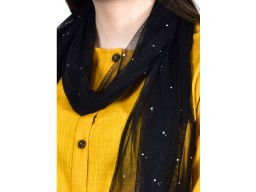 Black color women tulle scarf accessory scarves by 1 pieces nylon embellish girlfriend christmas birthday bohemian long scarf evening wrap Indian decorative soft and stylish wedding wear stoles for mom