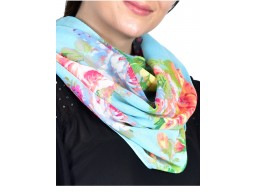 Decorative floral printed indian polyester multi color infinity scarf cowl neck wrap women circle gift mom girlfriend christmas birthday loop scarf head wrap online beautiful handmade soft and stylish scarfs for girls