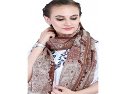 Decorated Brown And White Color Wool Scarf Women Indian Long Bridesmaid Scarves Autumn Bridesmaid Evening Shawl Wrap Gift Girlfriend Christmas Birthday Perfect Beautiful Winter Stoles