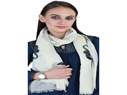 Black And White Pure Wool Scarf Decorated Sea Horses Print Long Scarves Women Accessories Winter Stole Girlfriend Christmas Birthday Gift For Autumn Bridesmaid Evening Shawl Wrap