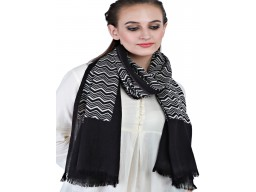 Beautiful Stunning Online Black Color Pure Wool Scarfs Decorative Designer Zigzag Pattern Scarves Christmas Birthday Stoles Christmas Birthday Stoles For Women Accessories