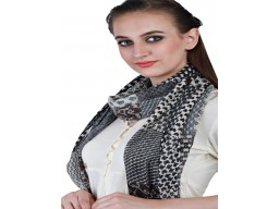 Black Pure Wool Autumn Scarf Outstanding Handmade Women Accessory Indian Winter Scarves Online Beautiful Stunning Winter Party Wear Stoles For Ladies Muffler