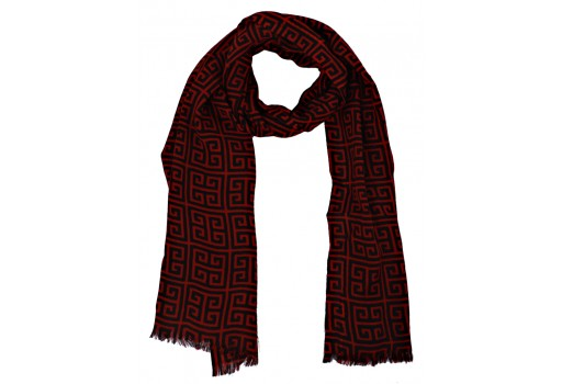 Indian winter scarfs by 1 pieces women accessories decorated red and black color woolen festive wear stoles online beautiful stunning christmas birthday bridesmaid evening shawl wrap gifting purpose for ladies