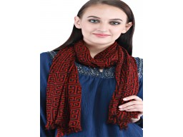 Indian winter scarfs by 1 pieces women accessories decorated red and black color woolen festive wear stoles on..