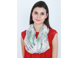 Floral print ivory color infinity shawls cowl neck wrap indian festive wear polyester scarf by 1 pieces women circle spring summer fall autumn scarf bridesmaid christmas birthday loop head scarves gifting purpose for ladies