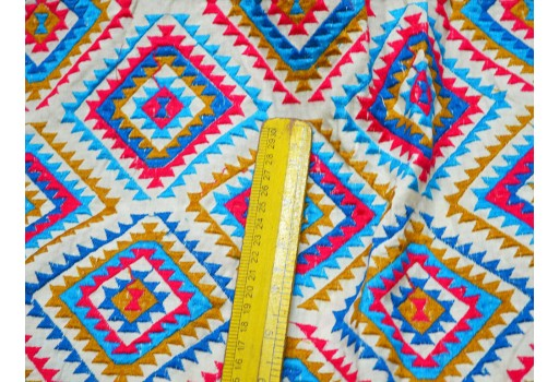 Mustard Yellow on Ivory Cotton Fabric Sewing Beige Embroidered Cotton
