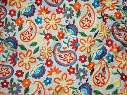 Paisley Pattern embroidered Indian Fabric Cushion Cover Sewing Embroidered Cotton Fabric