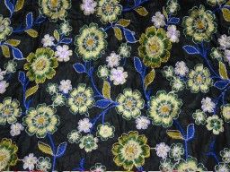 Flower Black Embroidered Crafting Sewing Crafting Wedding Dress Fabric
