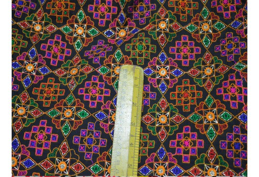 Boho Multi Color Kutch embroidery Fabric Sewing Bohemian Embroidered Cotton Fabric