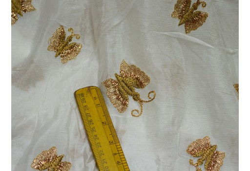 Dye able Chiffon Fabric Floral Embroidered Fabric  Gold Indian Saree Crafting Sewing wedding dress