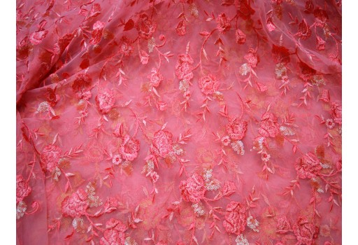 Coral Red Net Tulle Embroidery Fabric Floral Kids' crafts wedding wear Gown