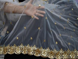 2.5 yard dye-able net gold embroidered dupatta scarf tulle saree crafting sewing wedding dress costumes dupatta fabric party wear wear making dupattas fabric for any occasion fabric