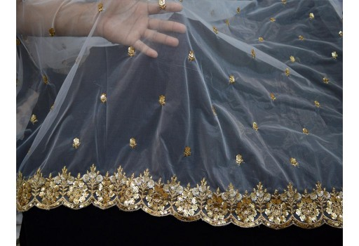 2.5 yard Dyeable Net Gold Embroidered Dupatta Scarf Tulle Saree Crafting Sewing Indian Wedding Dress Costumes Party Wear Making For Any Occasion Fabric