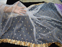 2.5 Yard dye-able embroidered net gold fabric for bridal wear dupatta fabric tulle saree making dress fabric women Indian dupatta making fabric occassion wear crafting material wedding dress costumes heavy embroidery dupatta fabric