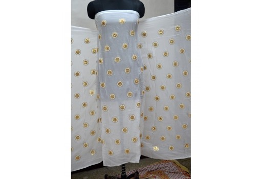 Dye able chiffon circle design embroidered dupatta fabric gold fabric saree making fabric crafting embroidery fabric sewing wedding dress costumes doll making designer dress fabric material