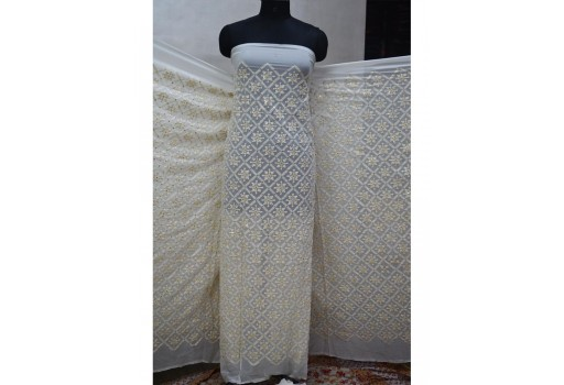 54'' indian ivory georgette sequined embroidered fabric wedding dress sequin saree crafting sewing costumes dye-able chikankari costumes doll making designer dress fabric material