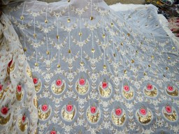 "57"" indian wedding dress sequins embroidered fabric sewing costume fabric floral chikankari fabric wedding lehenga dress ivory gold georgette sequins fabric sold by the yard bridesmaid fabric gown making embroidery fabric"