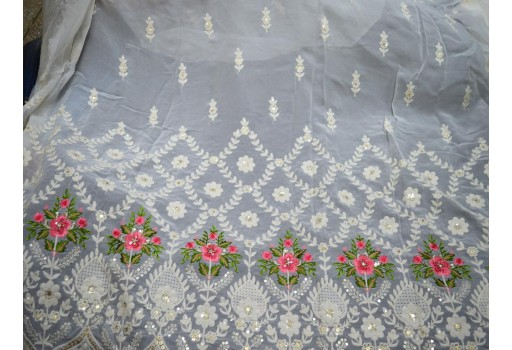Dye-able chikankari indian embroidered floral design sequins chikankari wedding lehenga gold sequins ivory fabric sold by the yard bridesmaid gown saree making embroidery georgette fabric