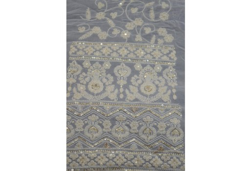 Chikankari lehenga wedding kali dress dye-able embroidered wholesale fabric accessories sewing costume gold sequins gown saree making fabric sold by the yard bridesmaid embroidery georgette fabric