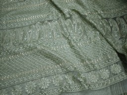Chikankari indian georgette jade embroidered net sequins fabric sold by the yard bridesmaid gown saree making embroidery wholesale accessories fabric sewing costume doll dresses fabric