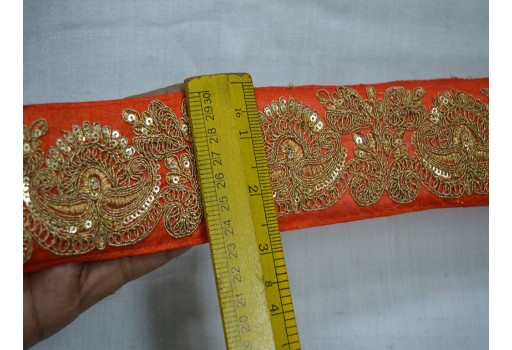 1 Yard Orange Decorative Fabric Trim Embroidered Trim