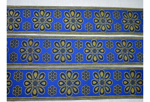 Blue Trim Gold Metallic Crafting Jacquard Trim By The Yard