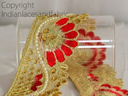 Costume trim Indian Sari Border Ribbon Tape Gold Kundan