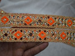 Crafting Ribbon Embellishments Decorative Gold Kundan Stone Work Sari Border Trim By 4 Yard Indian Laces Create A New Unique Design For Wedding Dress