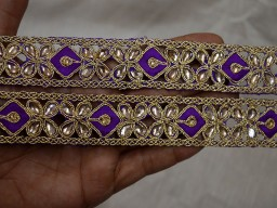Crafting Ribbon Embellishment Border Fashion Tape Decorative Trim Gold Kundan Stone Work Sari Border Trim By 4 Yard