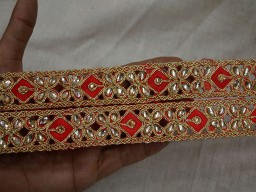 1'' Wholesale Red Saree Border Gold Kundan Traditional Wedding Dresses Decorative Glass Beads Work Gift Wrapping Fashion Tape Trim By 9 Yard Embellishment Lace Home Decor Crafting Supplies Ribbon