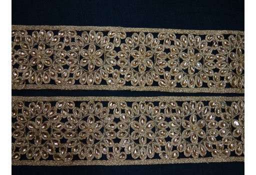 Crafting Ribbon Embellishment Decorative Stone Work Sari Border Trim