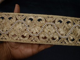 Christmas supplies home decor gold decorative trim by 9 yard wholesale kundan crafting clothing accessories lace indain decorative embellishment border kids wear fancy costume trimmings