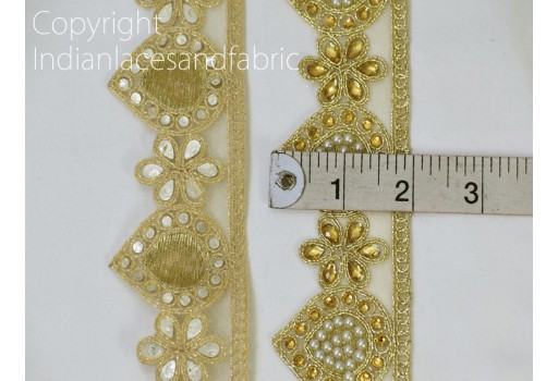 Indian Laces Decorative Ribbon Trim Metallic By the yard Ribbon Beaded Trim Gold Kundan Lace Embellished Mirror work Border Trim