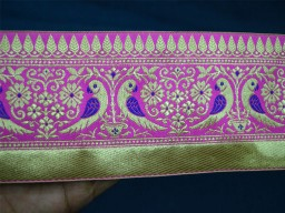 3.8 Inch wide Wholesale Brocade Jacquard Craft Ribbon Indian Laces Sari Border Decorative Ribbon Jacquard Trim By 9 Yard Jacquard Border