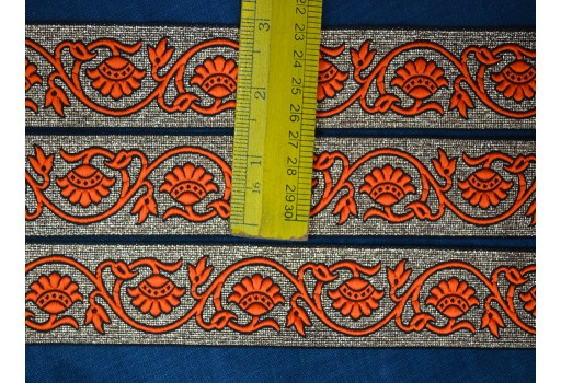 Orange decorative trim by 2 yard jacquard fancy costume border christmas home decor crafting suplplies trimmings kids wears embellishments weaving border