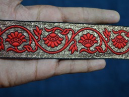Beautiful red decorative border jacquard scrap booking christmas metallic trim by 2 yard stunning festive wears and dresses ribbon for designing stylish blouse
