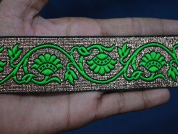 Brocade Jacquard Ribbon in Green and Gold Weaving Border