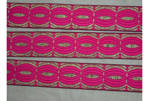 1.2 Inch wide Wholesale Crafting Magenta Decorative Trim By 9 Yard Jacquard Trim Indian Costume Trim Jacquard Ribbon Trimmings